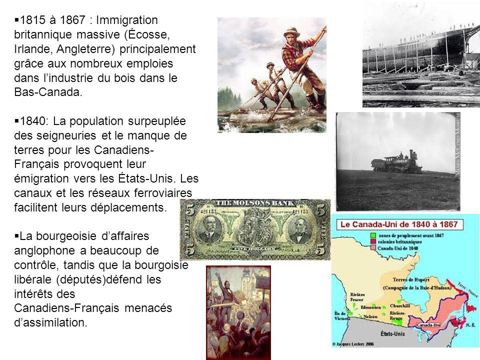 1815 à 1867 : Immigration britannique massive (Écosse, Irlande, Angleterre) principalement grâce aux nombreux emploies dans l'industrie du bois dans le Bas-Canada.