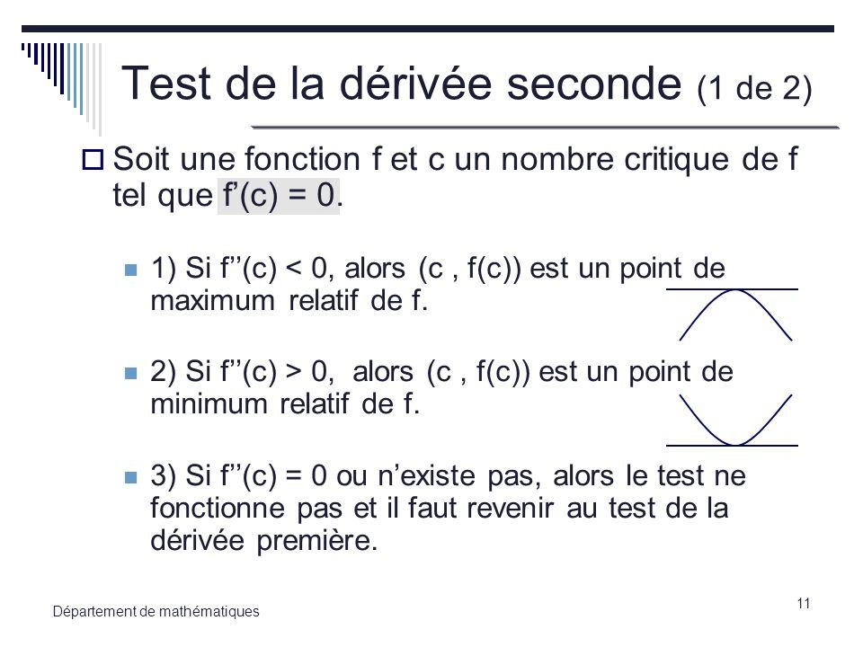 Test de la dérivée seconde (1 de 2)