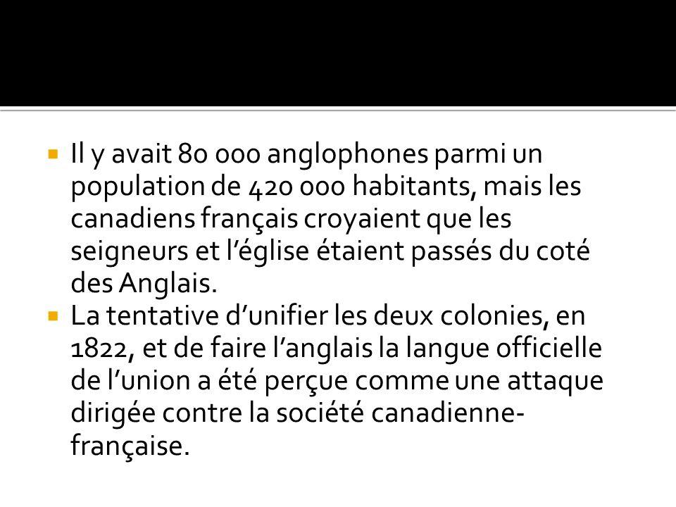 Il y avait 80 000 anglophones parmi un population de 420 000 habitants, mais les canadiens français croyaient que les seigneurs et l'église étaient passés du coté des Anglais.