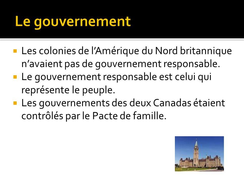 Le gouvernement Les colonies de l'Amérique du Nord britannique n'avaient pas de gouvernement responsable.