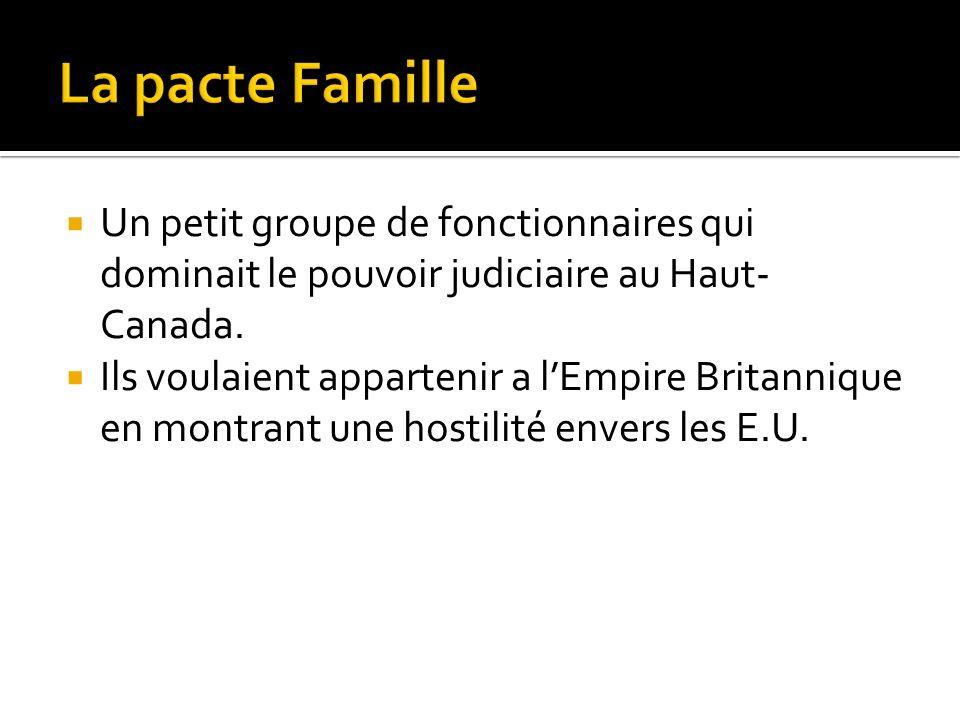 La pacte Famille Un petit groupe de fonctionnaires qui dominait le pouvoir judiciaire au Haut-Canada.