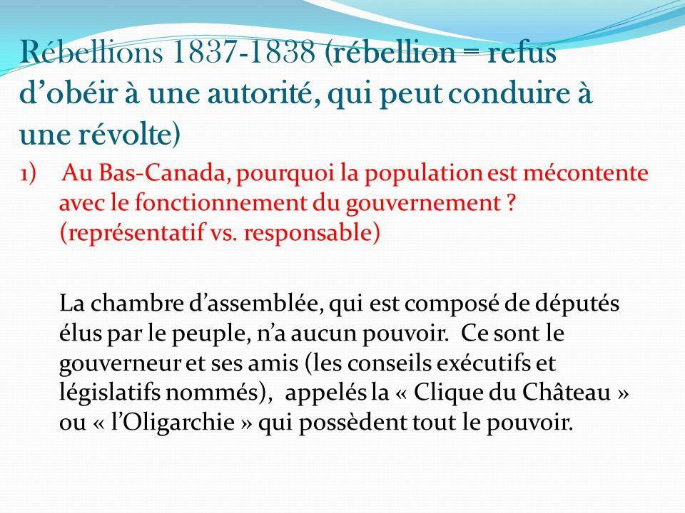 Rébellions 1837-1838 (rébellion = refus d'obéir à une autorité, qui peut conduire à une révolte)