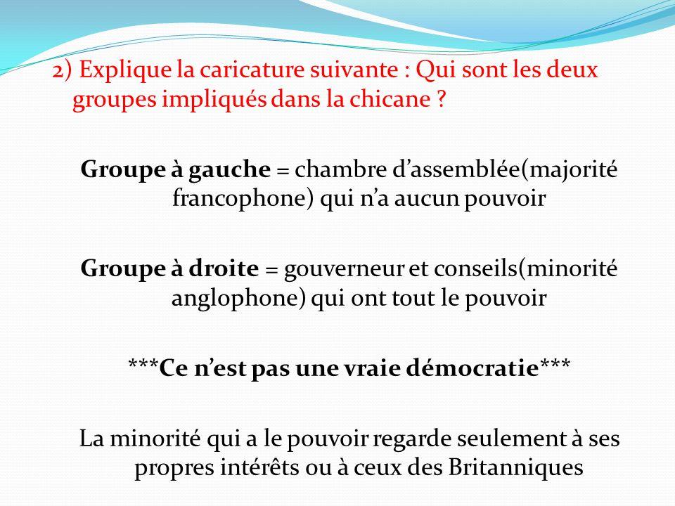 2) Explique la caricature suivante : Qui sont les deux groupes impliqués dans la chicane .