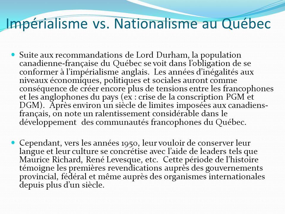 Impérialisme vs. Nationalisme au Québec