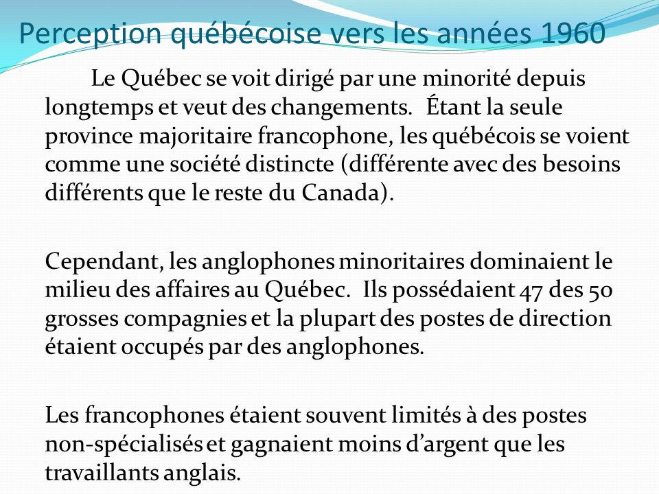 Perception québécoise vers les années 1960