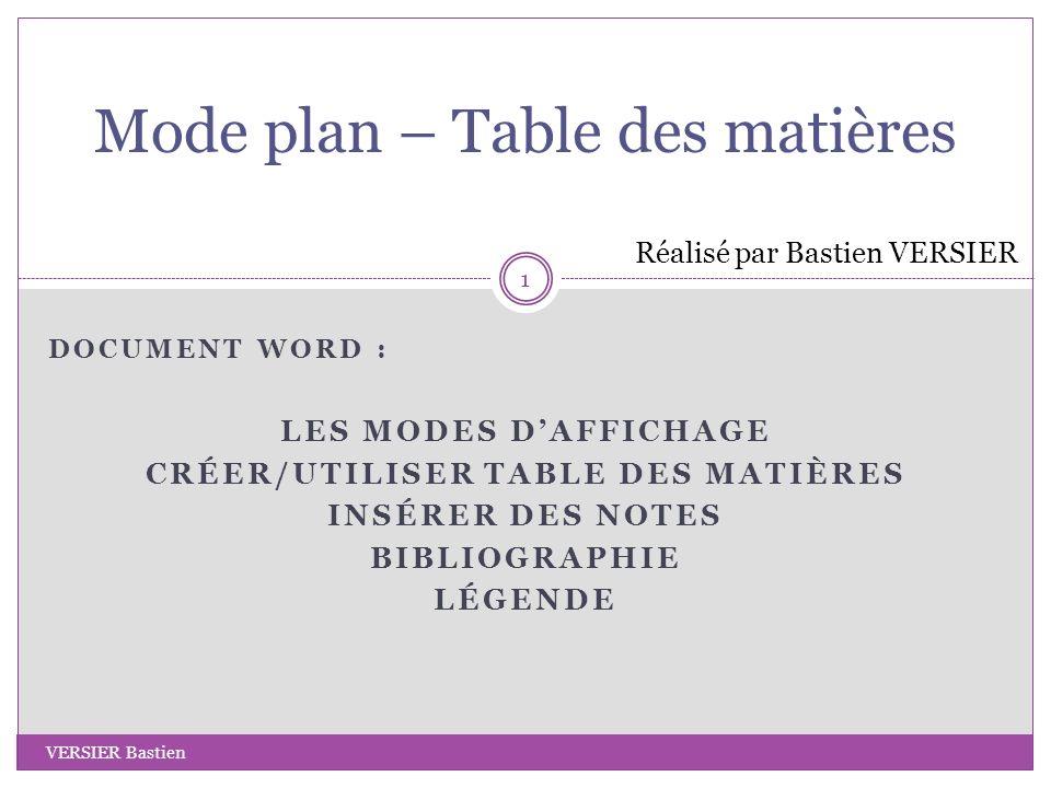 Mode plan – Table des matières