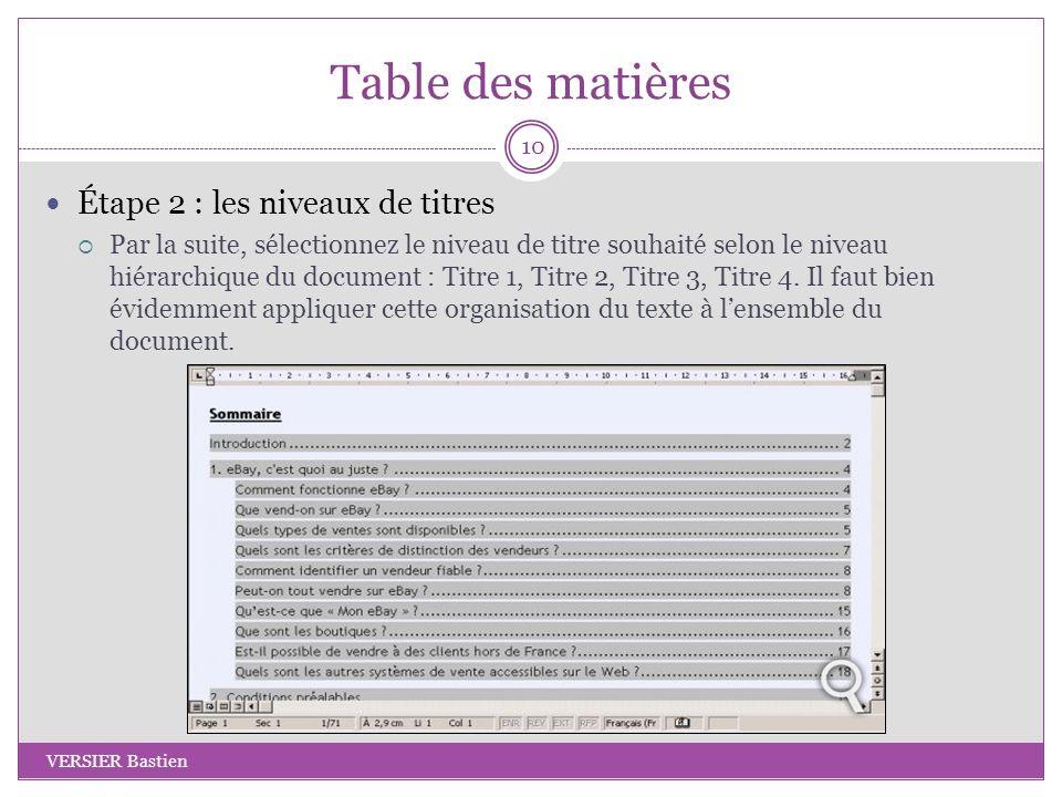 Table des matières Étape 2 : les niveaux de titres