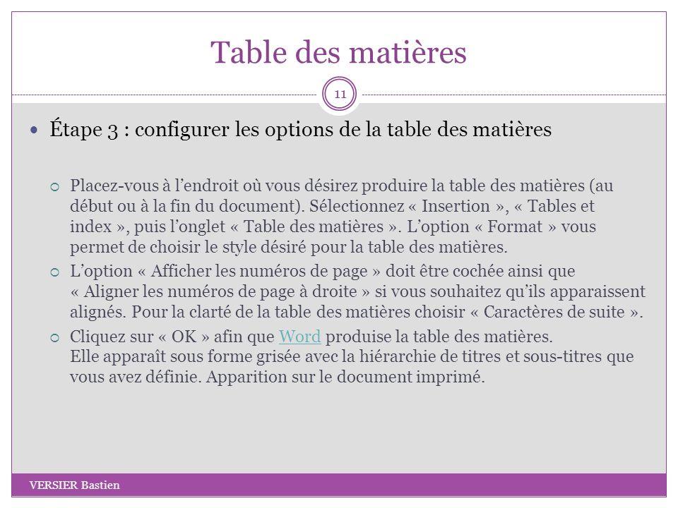 Table des matières Étape 3 : configurer les options de la table des matières.