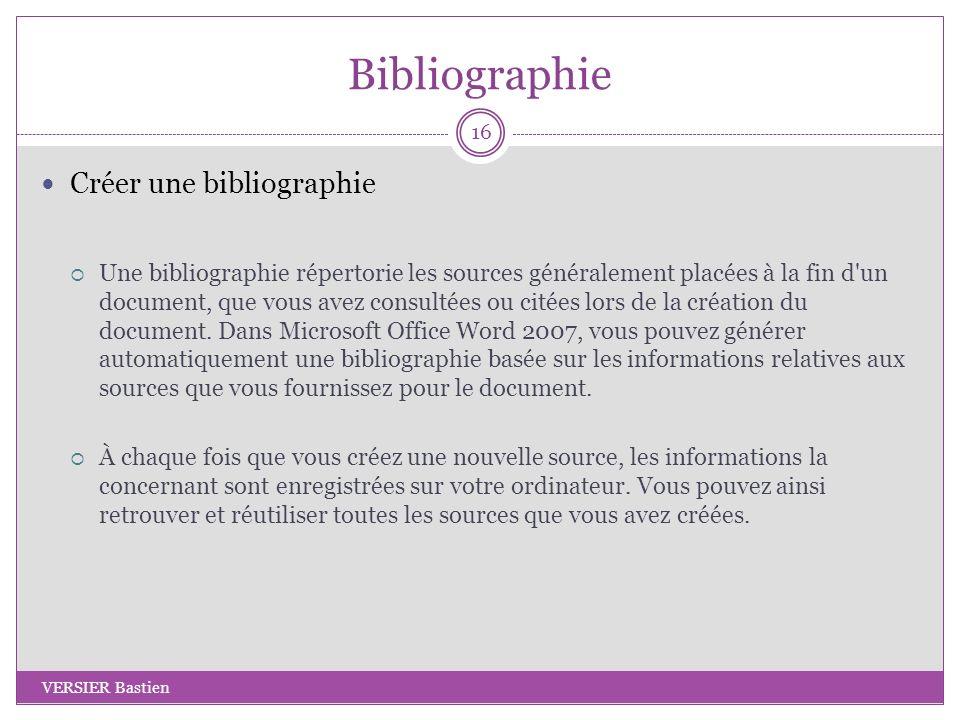Bibliographie Créer une bibliographie