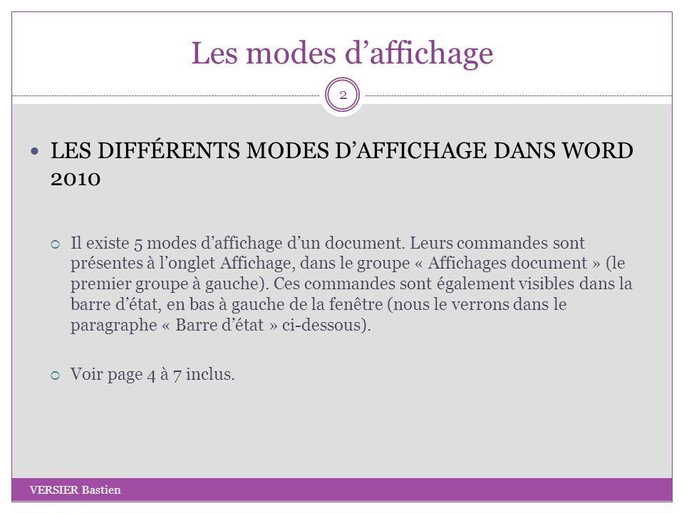 Les modes d'affichage LES DIFFÉRENTS MODES D'AFFICHAGE DANS WORD 2010
