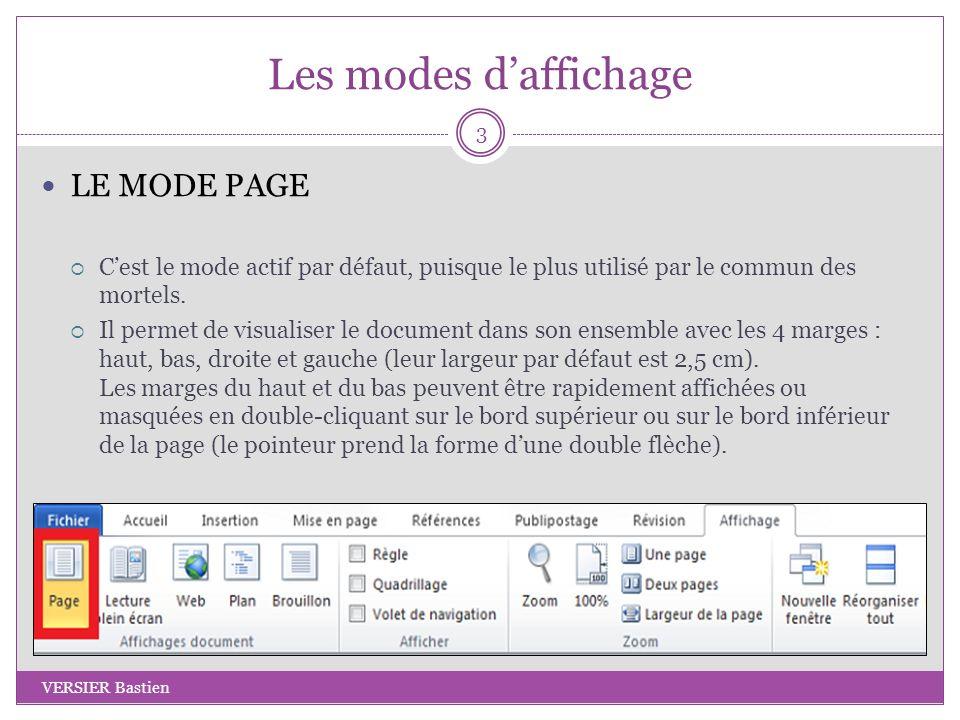 Les modes d'affichage LE MODE PAGE