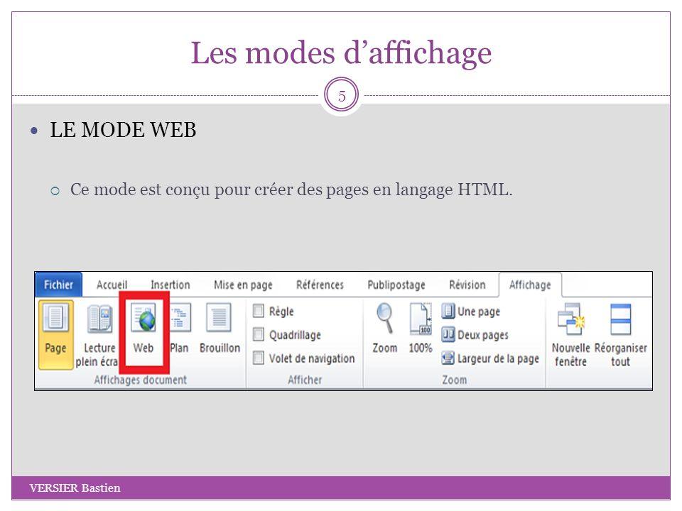Les modes d'affichage LE MODE WEB