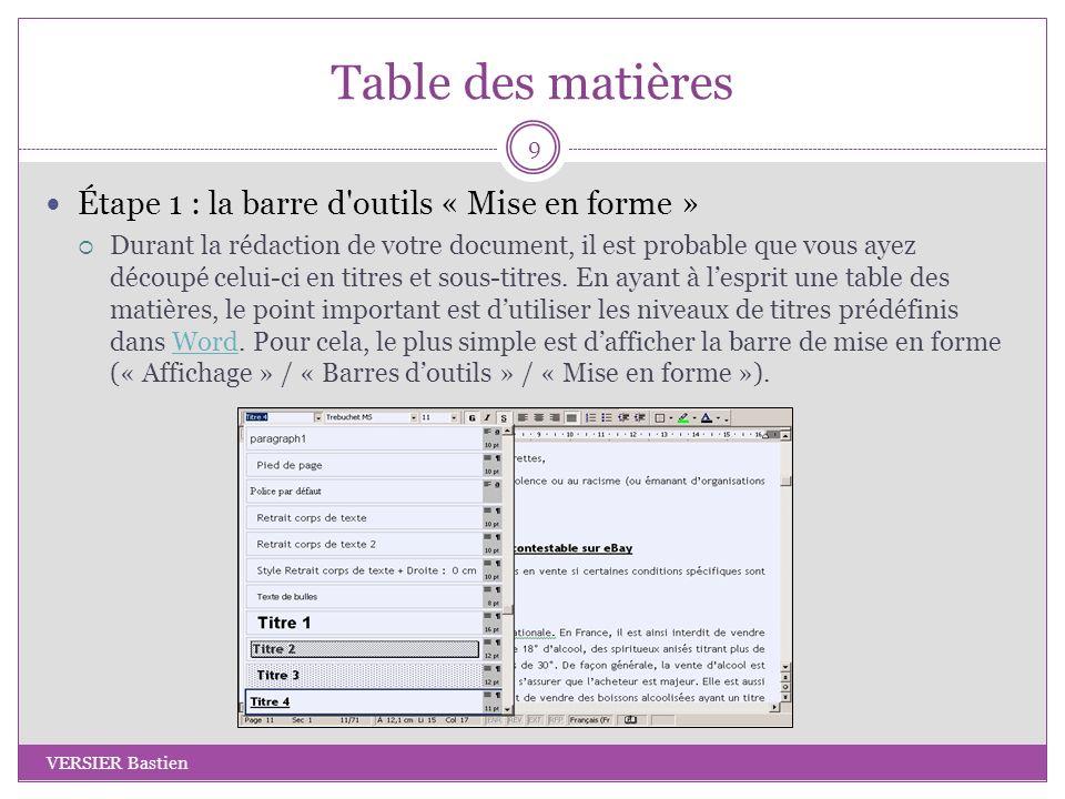 Table des matières Étape 1 : la barre d outils « Mise en forme »