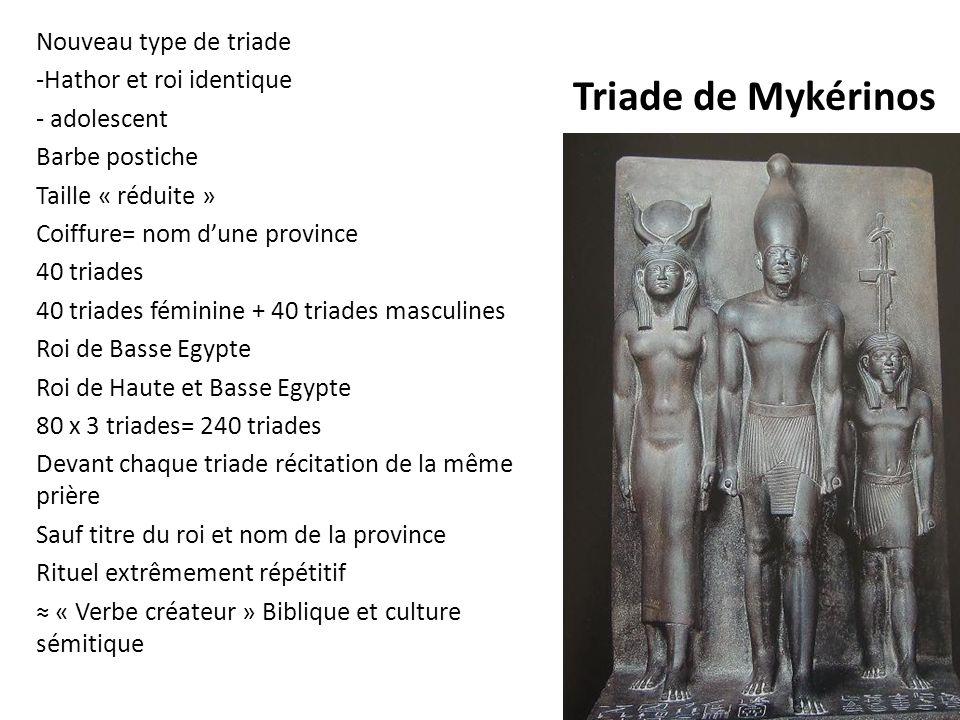 Triade de Mykérinos Nouveau type de triade Hathor et roi identique