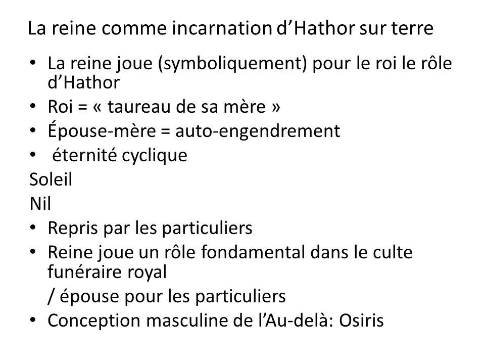 La reine comme incarnation d'Hathor sur terre