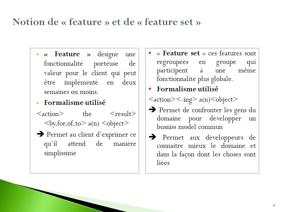 Notion de « feature » et de « feature set »