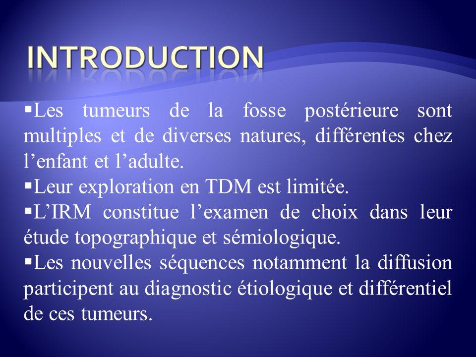 INTRODUCTION Les tumeurs de la fosse postérieure sont multiples et de diverses natures, différentes chez l'enfant et l'adulte.