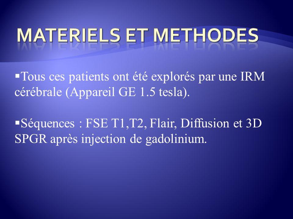 MATERIELS ET METHODES Tous ces patients ont été explorés par une IRM cérébrale (Appareil GE 1.5 tesla).