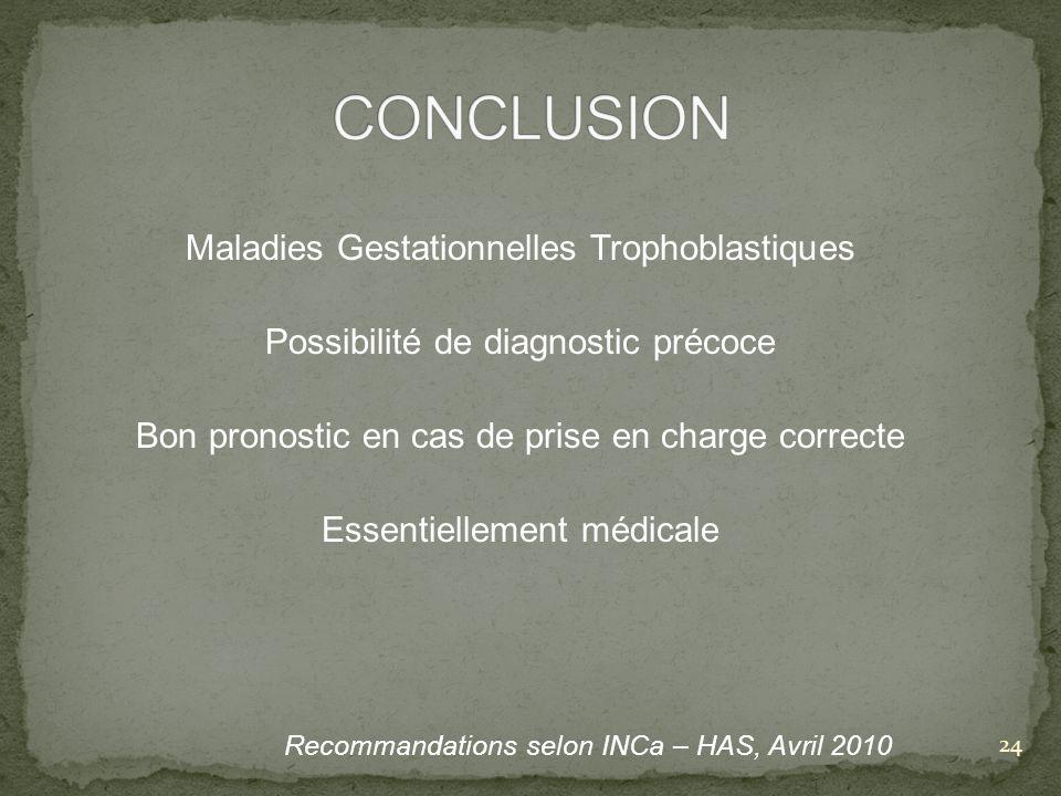 CONCLUSION Maladies Gestationnelles Trophoblastiques
