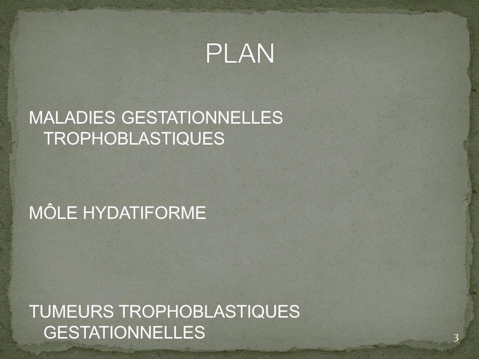 PLAN MALADIES GESTATIONNELLES TROPHOBLASTIQUES MÔLE HYDATIFORME TUMEURS TROPHOBLASTIQUES GESTATIONNELLES