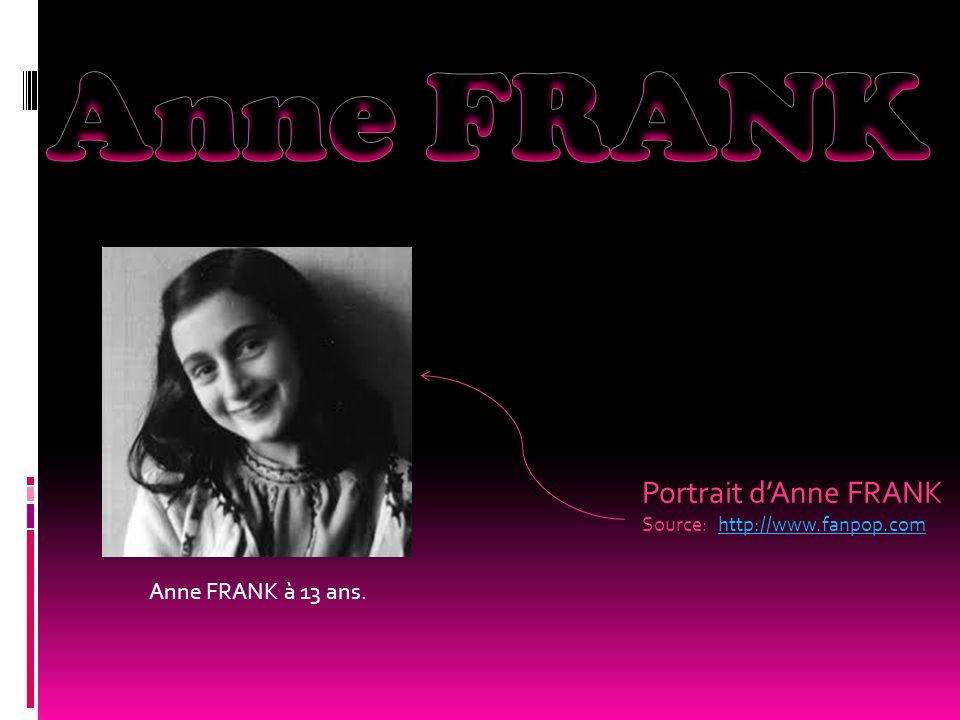 Portrait d'Anne FRANK Source: http://www.fanpop.com