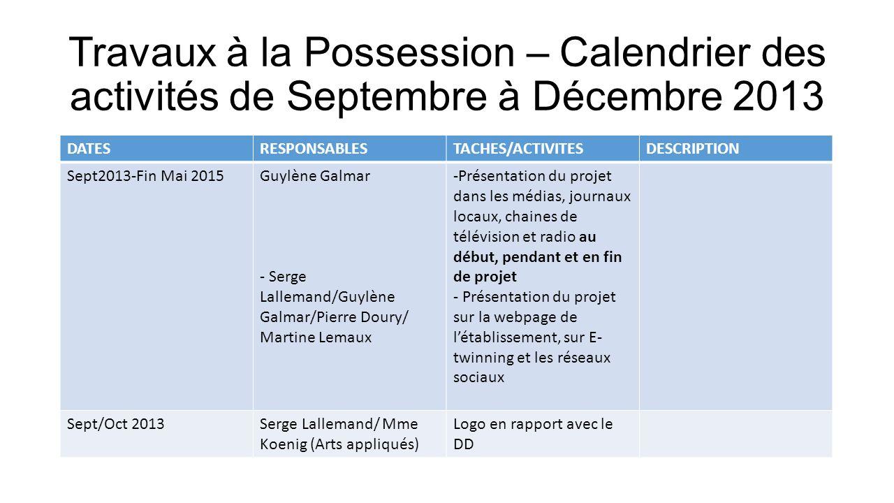 Travaux à la Possession – Calendrier des activités de Septembre à Décembre 2013