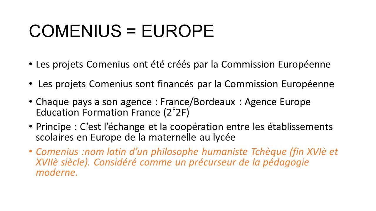 COMENIUS = EUROPE Les projets Comenius ont été créés par la Commission Européenne. Les projets Comenius sont financés par la Commission Européenne
