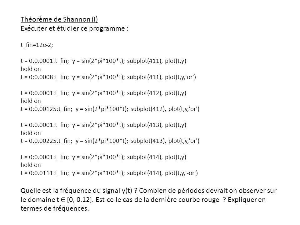 Théorème de Shannon (I) Exécuter et étudier ce programme :