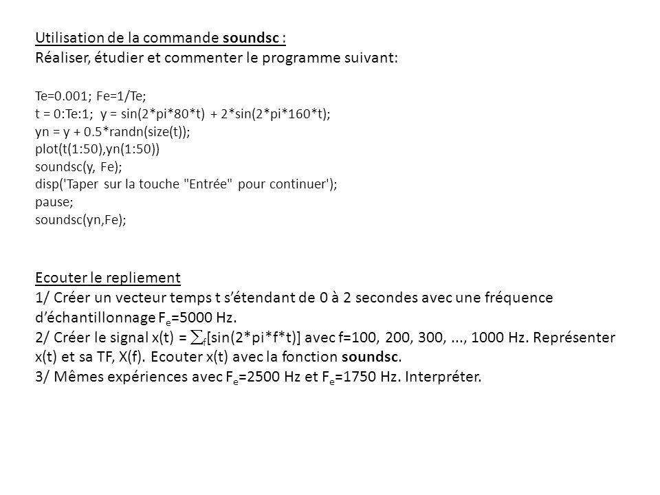 Utilisation de la commande soundsc :