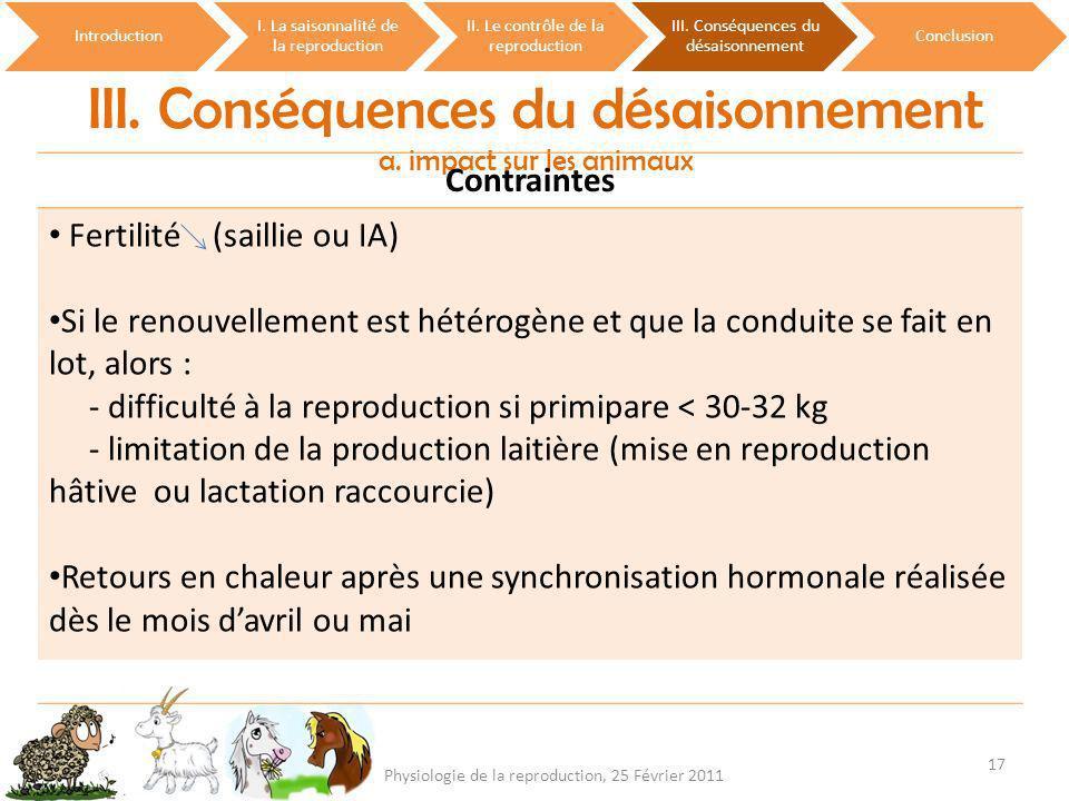 III. Conséquences du désaisonnement a. impact sur les animaux