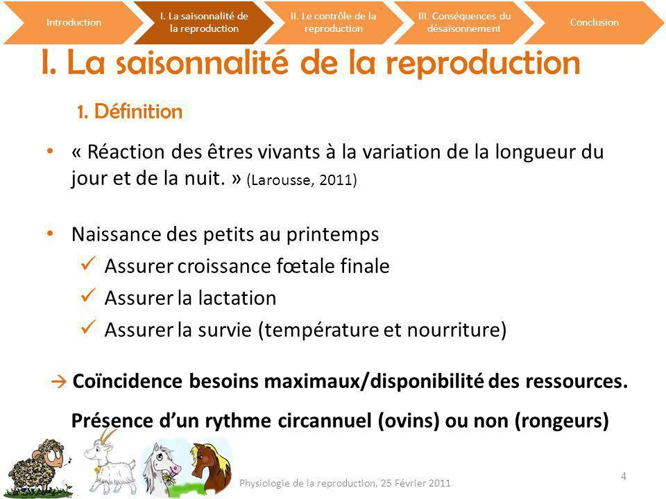 I. La saisonnalité de la reproduction 1. Définition