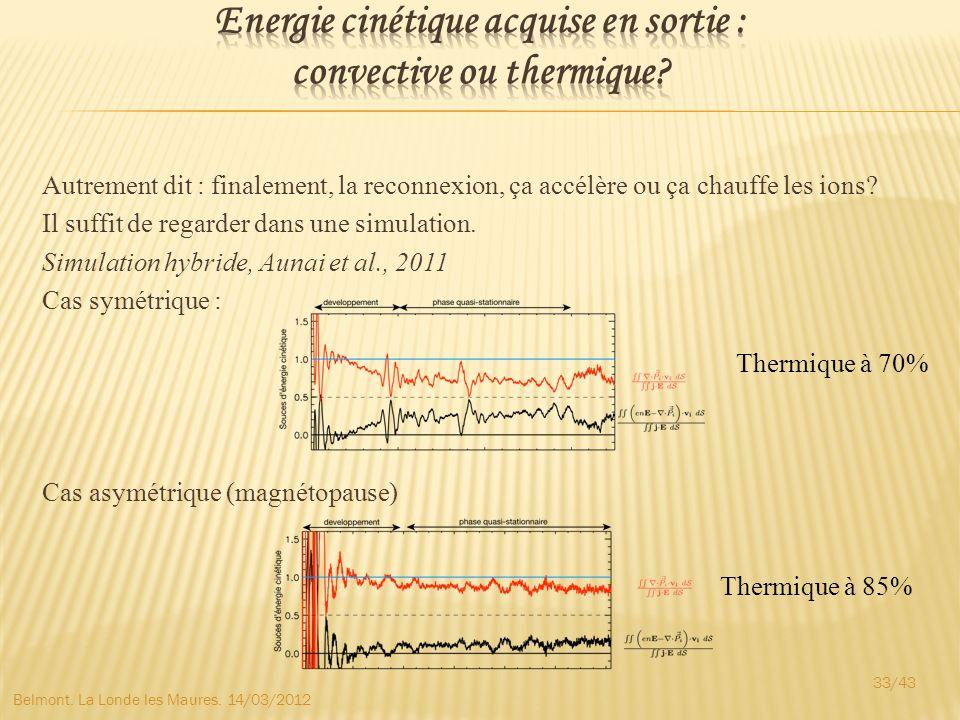 Energie cinétique acquise en sortie : convective ou thermique