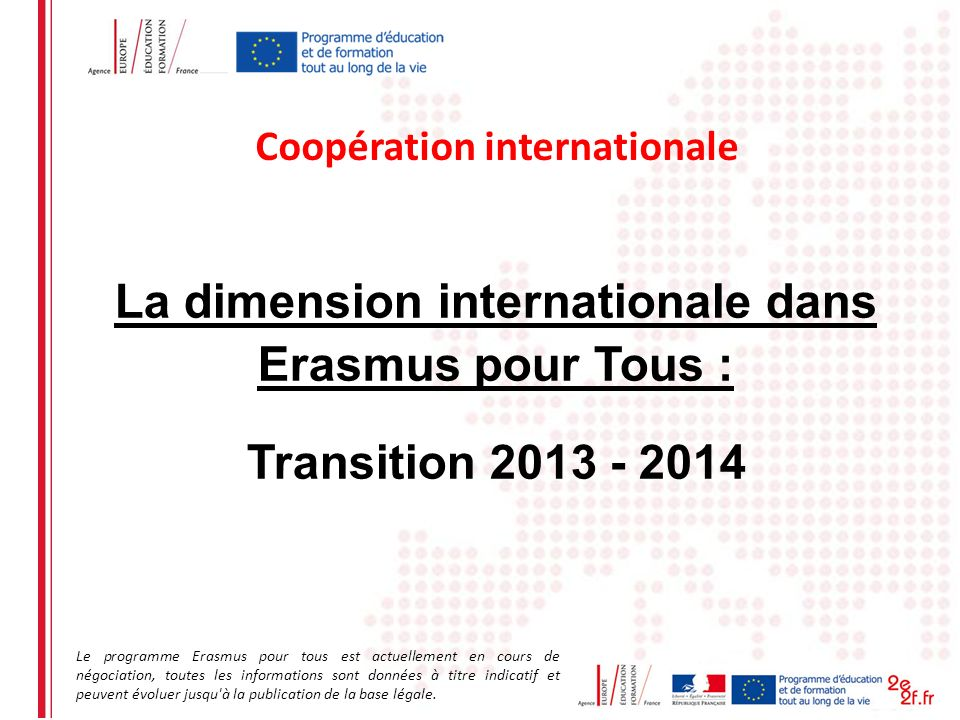 La dimension internationale dans Erasmus pour Tous :