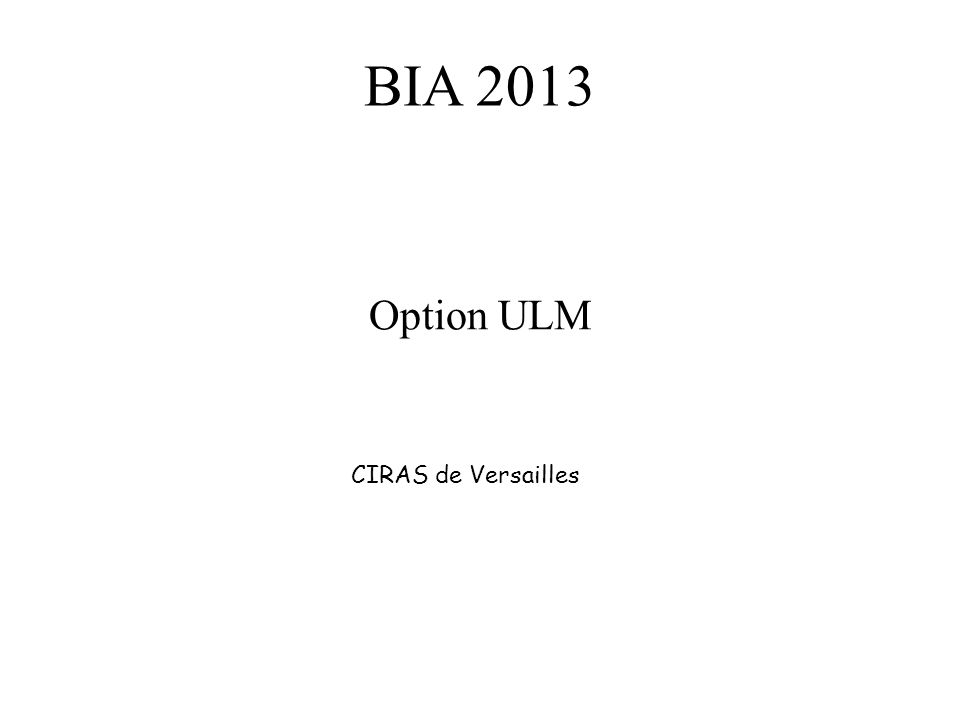 BIA 2013 Option ULM CIRAS de Versailles