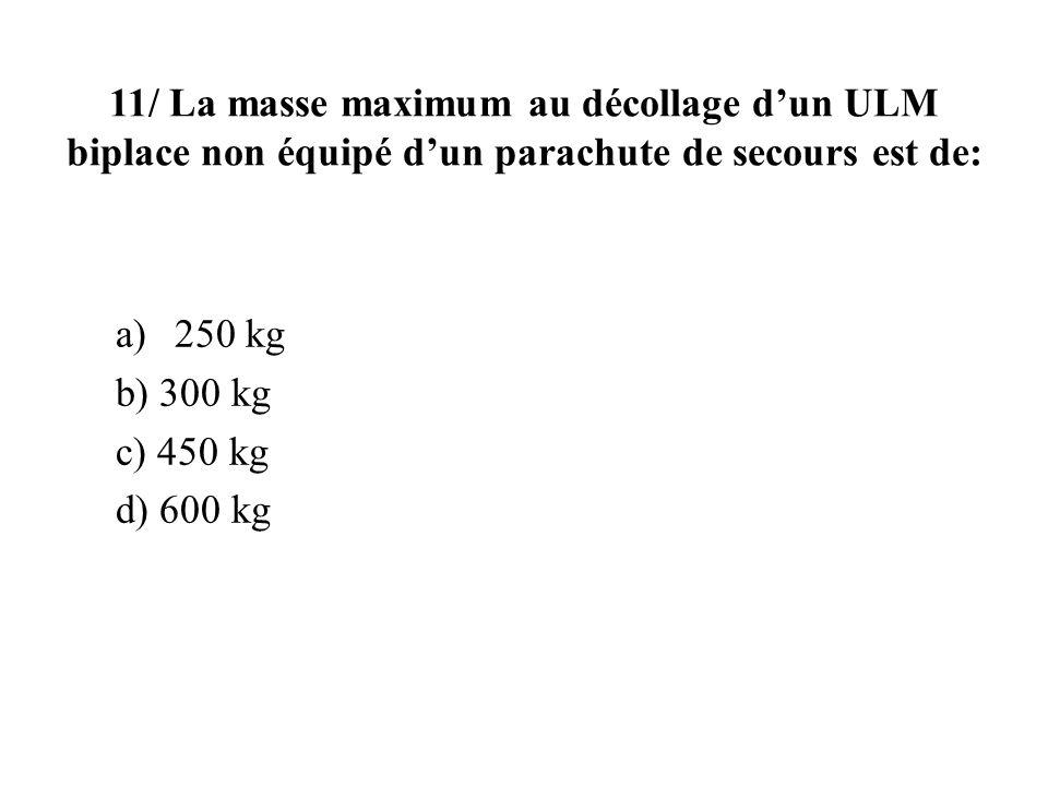 11/ La masse maximum au décollage d'un ULM biplace non équipé d'un parachute de secours est de: