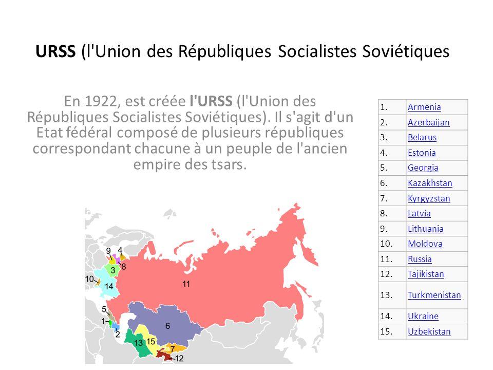 URSS (l Union des Républiques Socialistes Soviétiques