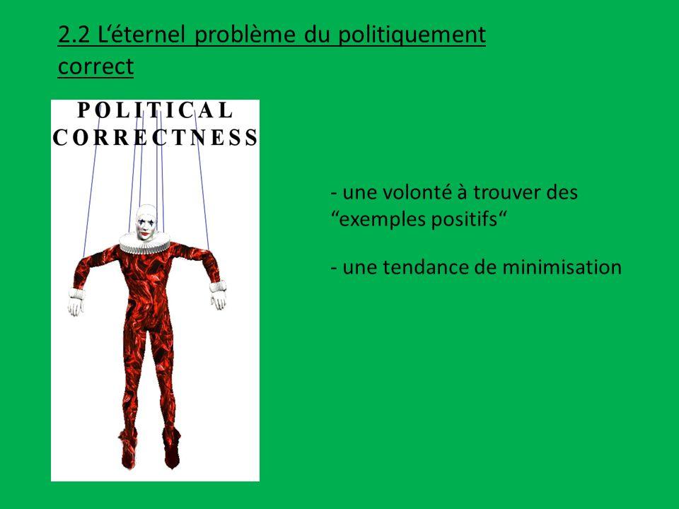 2.2 L'éternel problème du politiquement correct