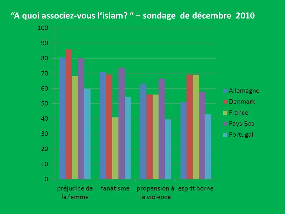 A quoi associez-vous l'islam – sondage de décembre 2010