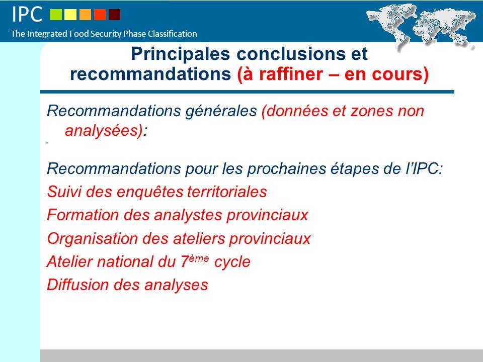 Principales conclusions et recommandations (à raffiner – en cours)