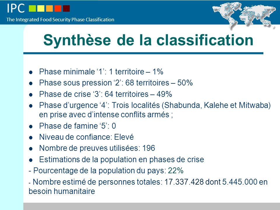 Synthèse de la classification