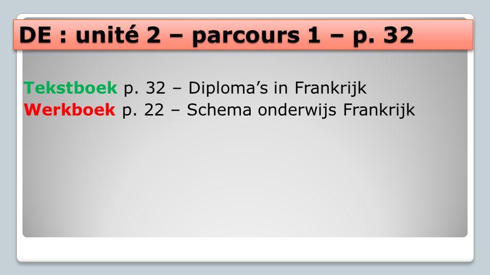 DE : unité 2 – parcours 1 – p. 32 Tekstboek p. 32 – Diploma's in Frankrijk. Werkboek p. 22 – Schema onderwijs Frankrijk.