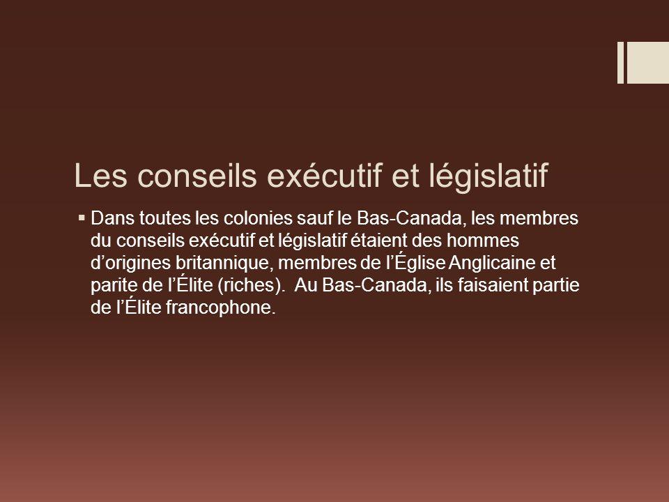 Les conseils exécutif et législatif