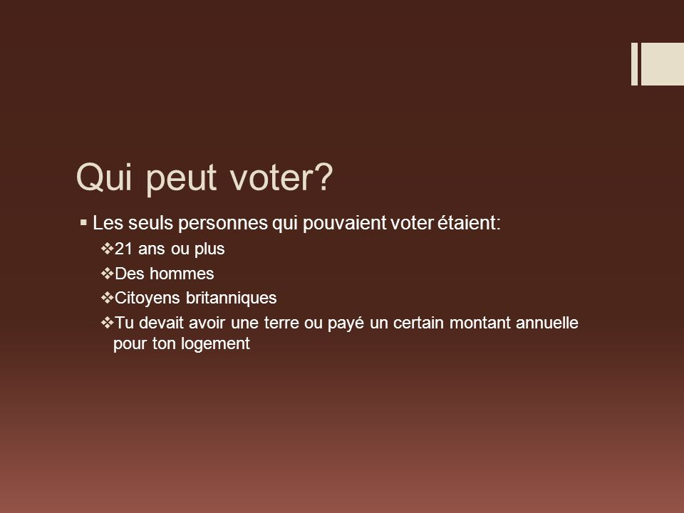 Qui peut voter Les seuls personnes qui pouvaient voter étaient: