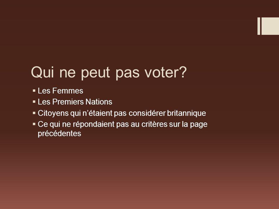 Qui ne peut pas voter Les Femmes Les Premiers Nations