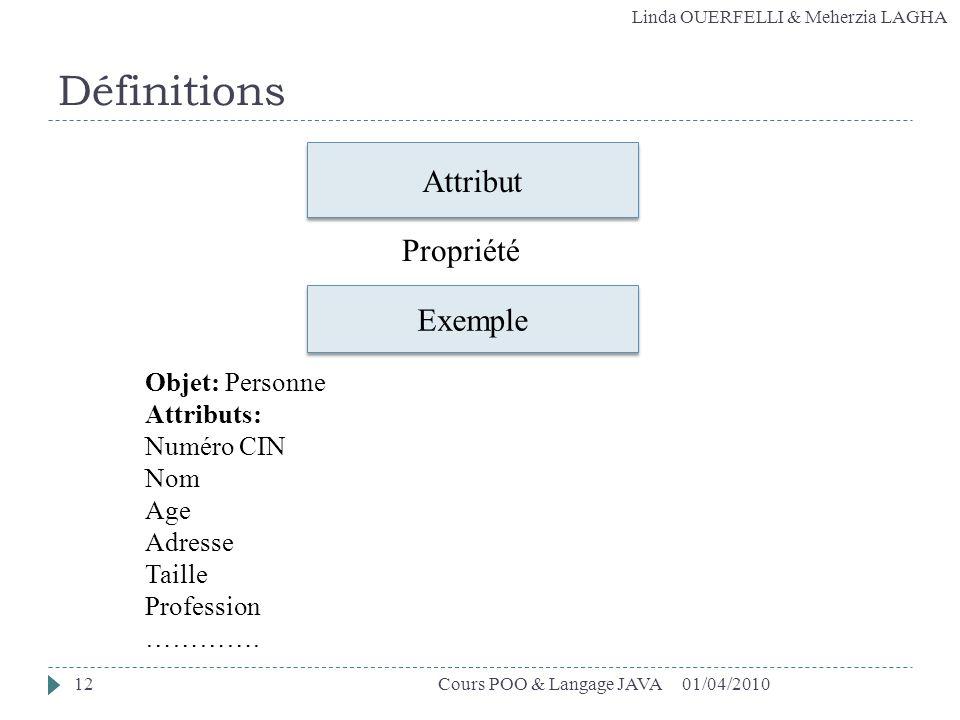 Définitions Attribut Propriété Exemple Objet: Personne Attributs: