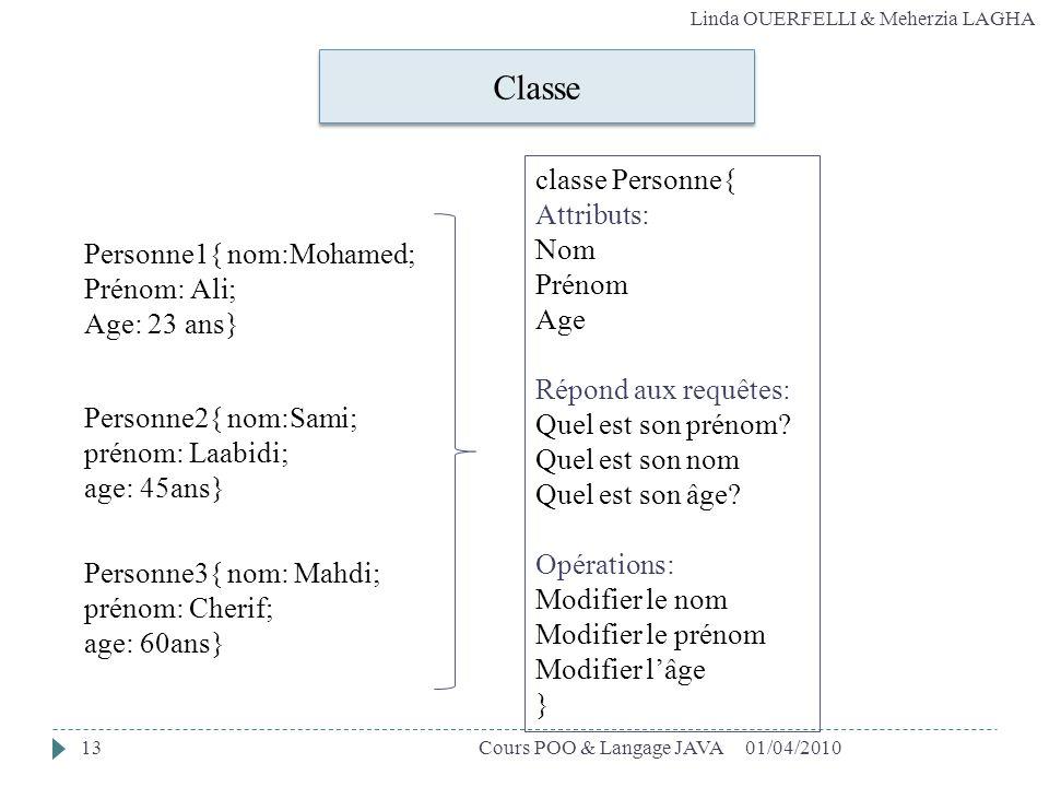Classe classe Personne{ Attributs: Nom Prénom Age