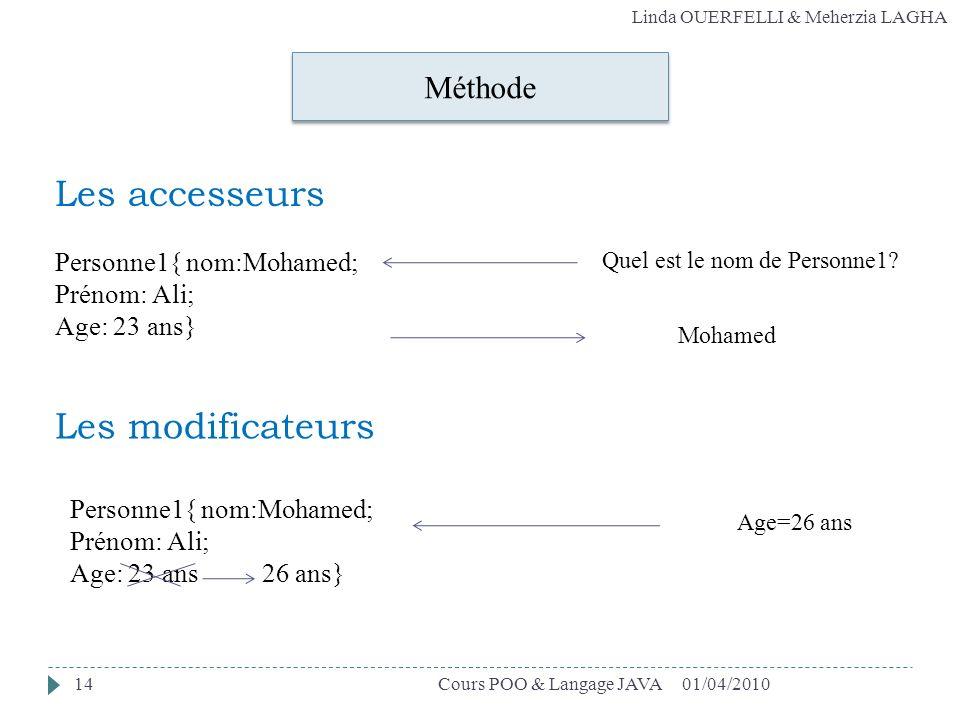 Les accesseurs Les modificateurs Méthode Personne1{ nom:Mohamed;