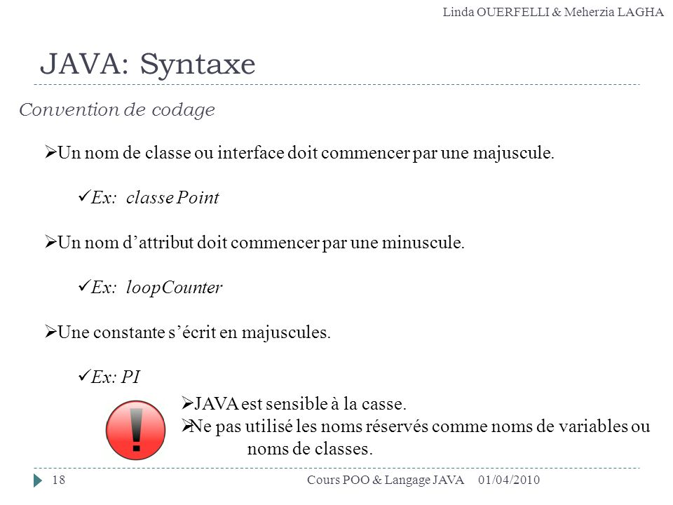 JAVA: Syntaxe Convention de codage