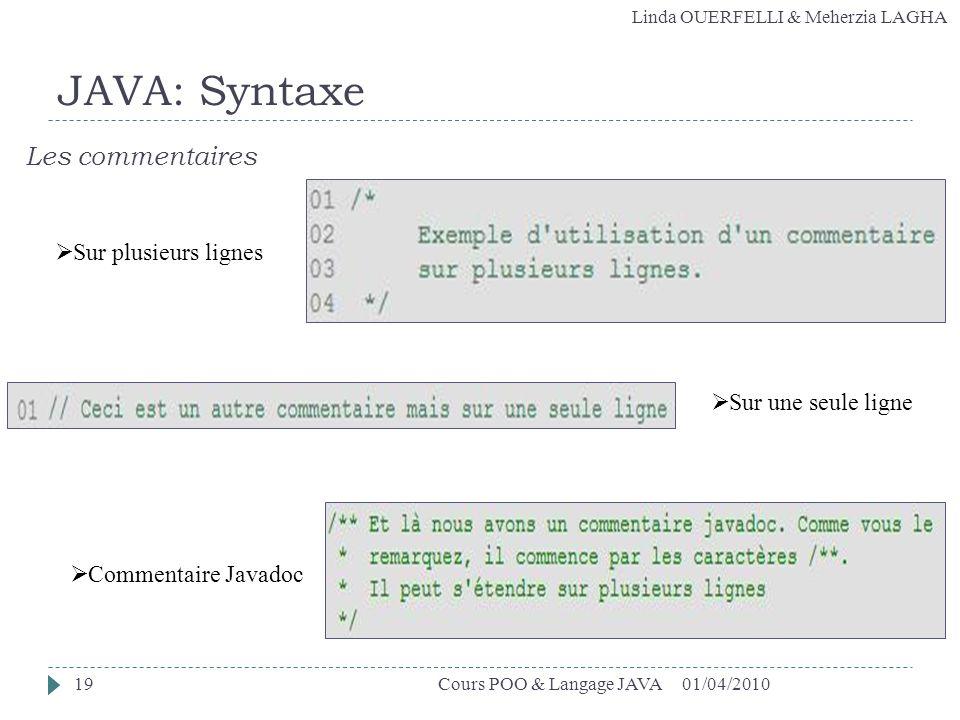 JAVA: Syntaxe Les commentaires Sur plusieurs lignes