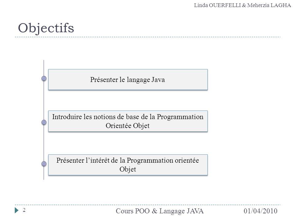 Objectifs Présenter le langage Java